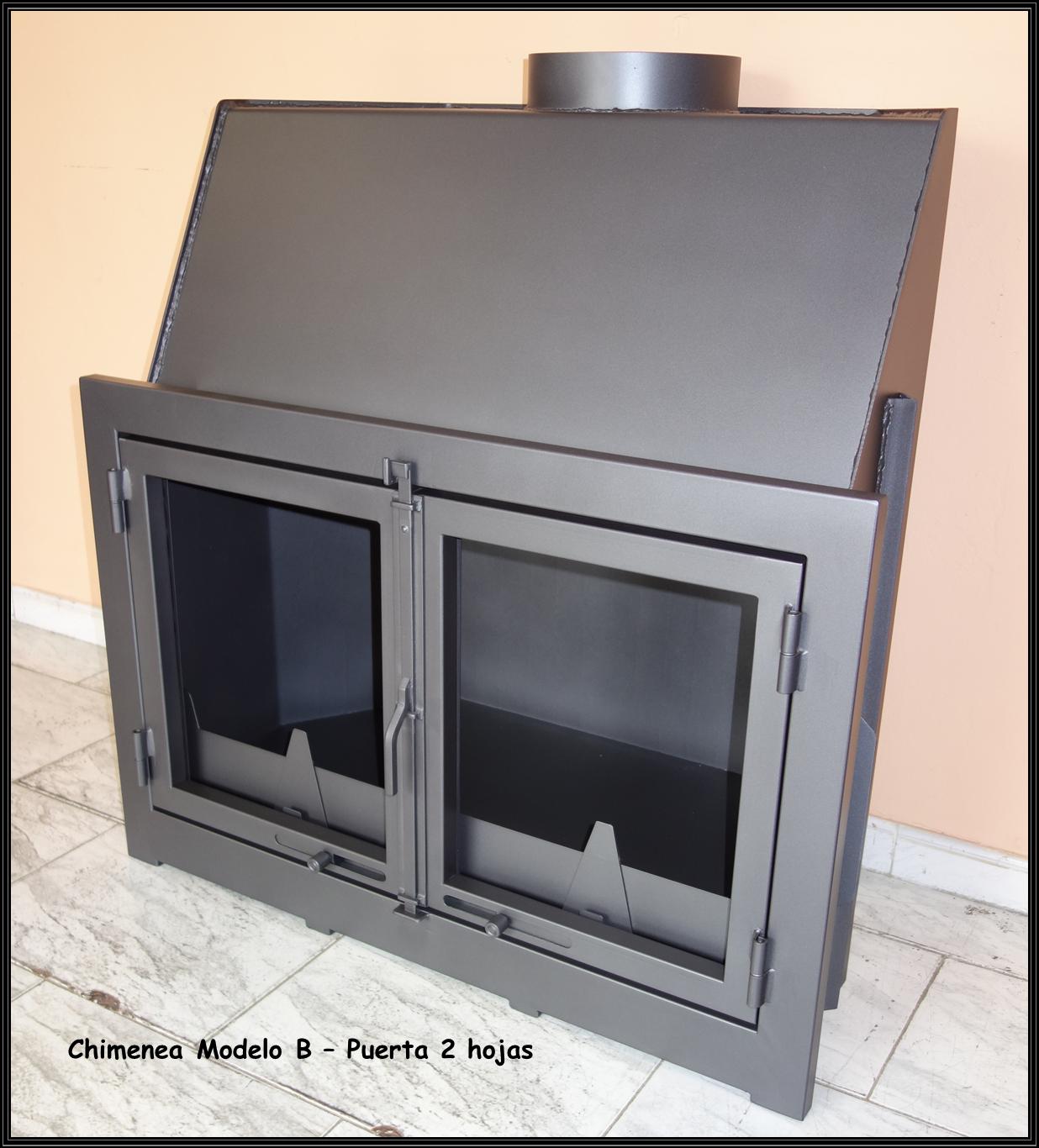 Chimeneas sierra chimenea met lica modelo b con puerta for Puertas para chimeneas